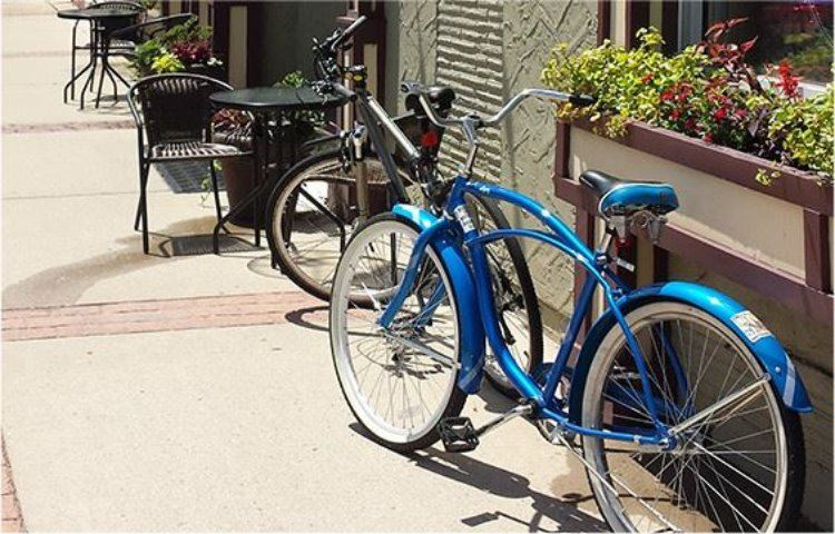 Bicycles parked outside cafe