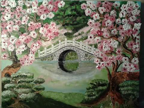 Japanese Cherry Blossem Bridge by Kathy Klein